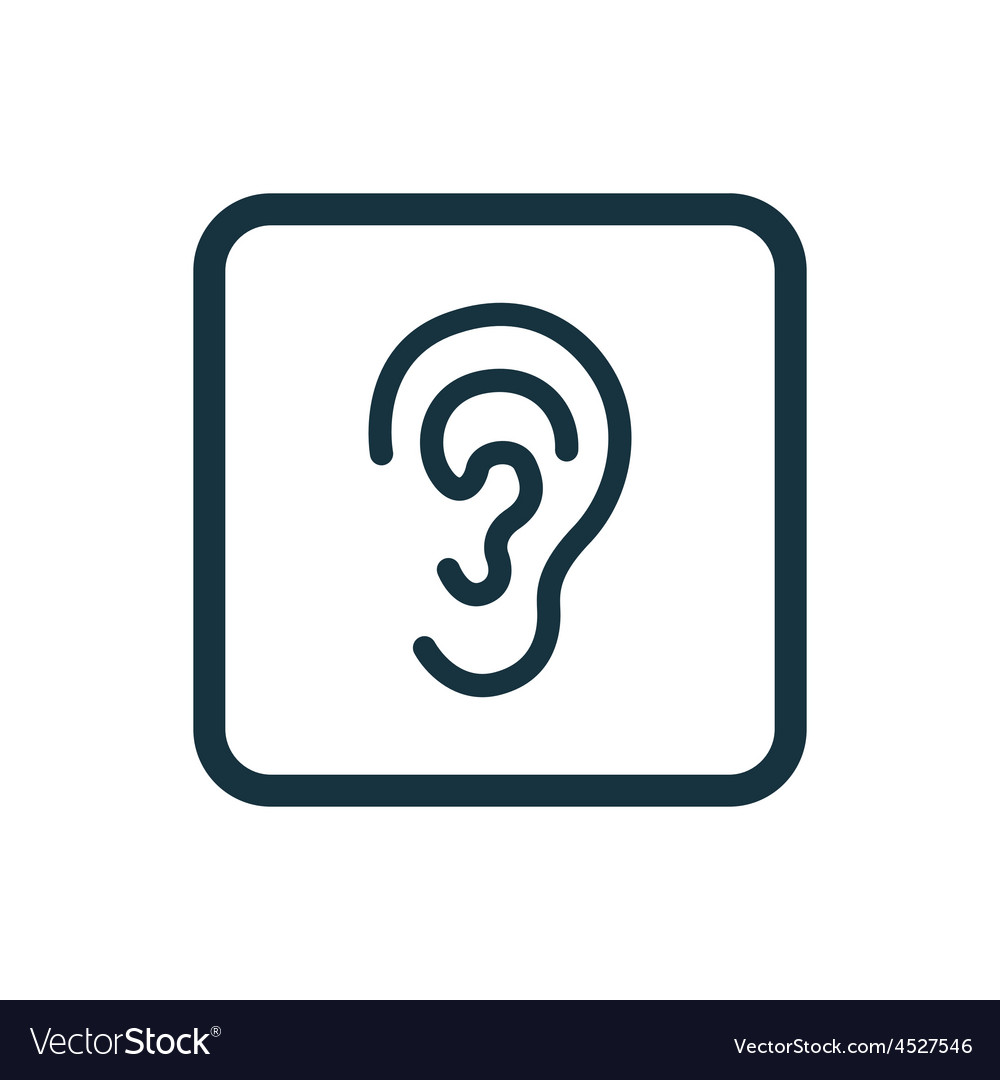 Ear icon rounded squares button vector | Price: 1 Credit (USD $1)
