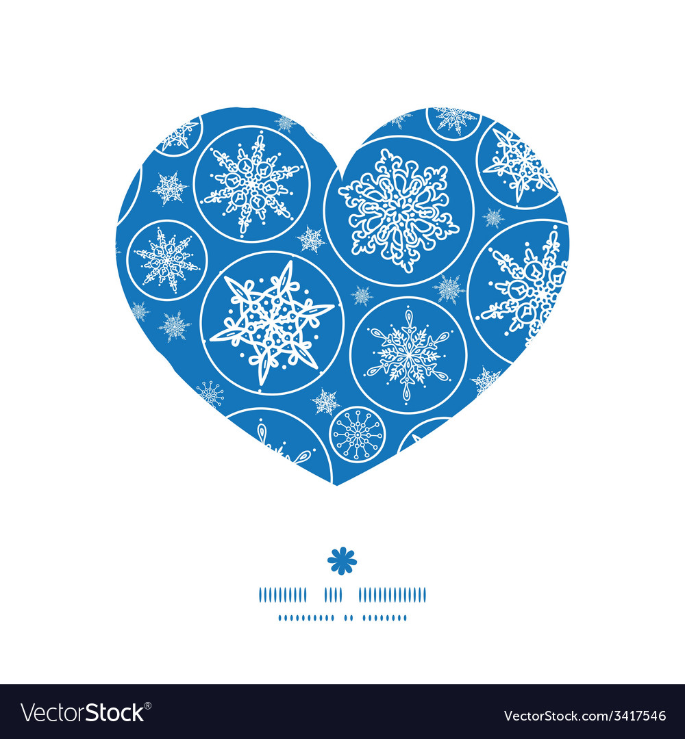 Falling snowflakes heart silhouette pattern frame vector | Price: 1 Credit (USD $1)