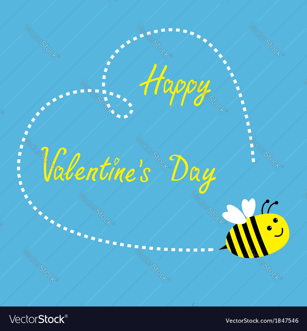 Flying bee big dash heart in the sky valentines vector | Price: 1 Credit (USD $1)
