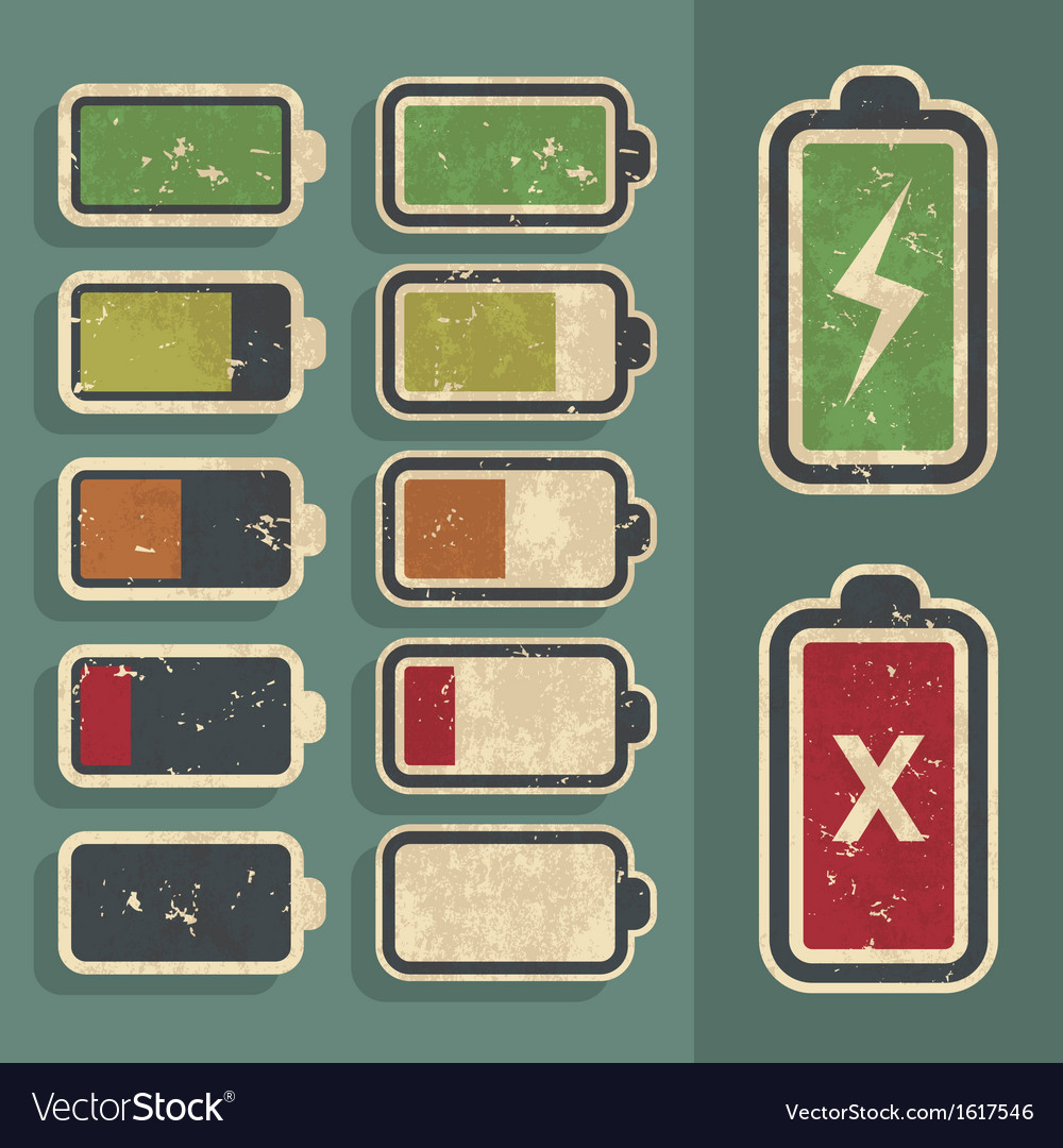 Retro grunge battery level indicator kit vector | Price: 1 Credit (USD $1)