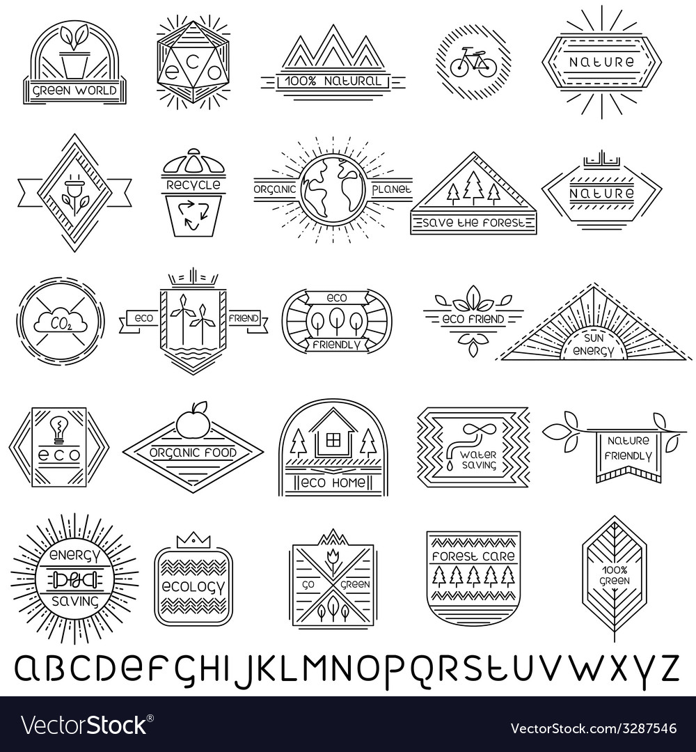 Set of thin linear ecology labels and font vector | Price: 1 Credit (USD $1)