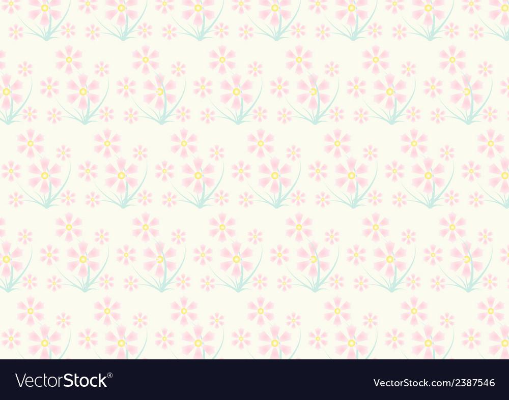 Vintage pink flower pattern on pastel color vector | Price: 1 Credit (USD $1)