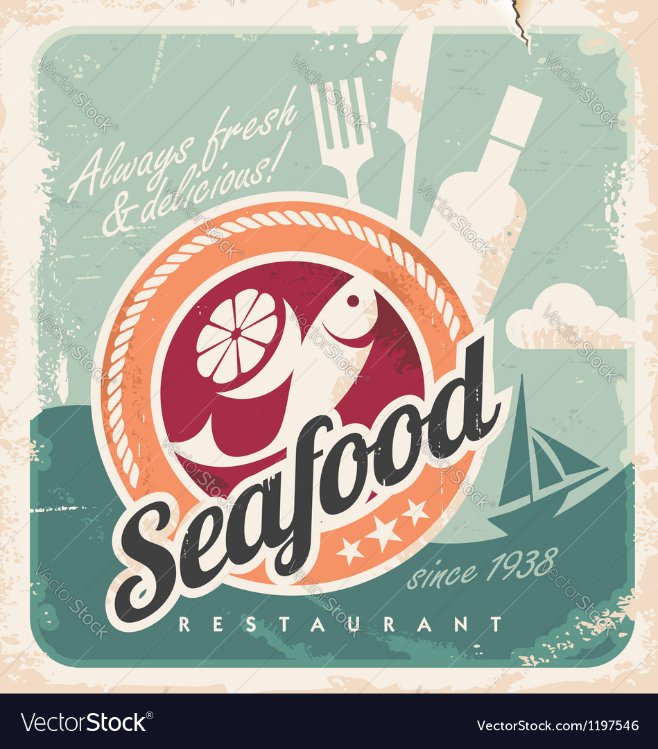 Vintage poster for seafood restaurant vector | Price: 1 Credit (USD $1)