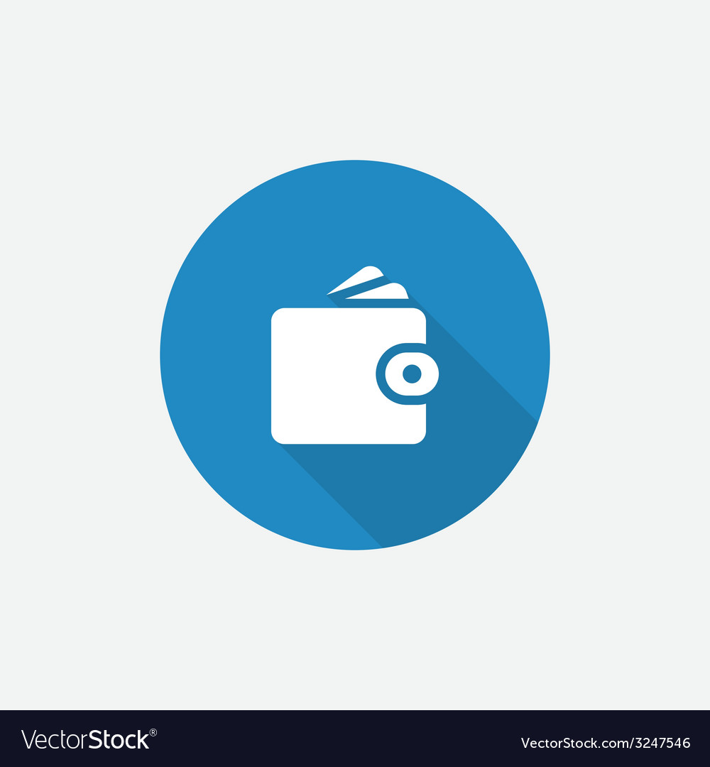 Wallet flat blue simple icon with long shadow vector | Price: 1 Credit (USD $1)