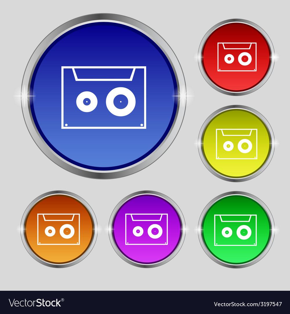 Cassette sign icon audiocassette symbol set of vector | Price: 1 Credit (USD $1)