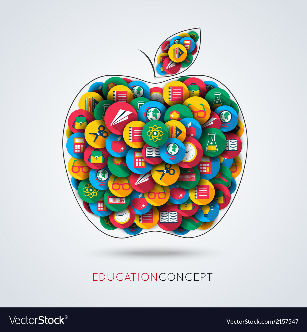 Education icon apple composition vector | Price: 1 Credit (USD $1)