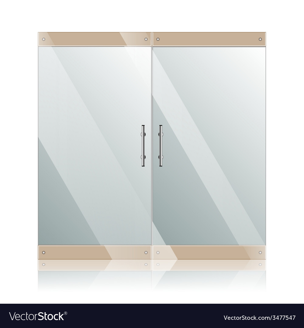 Glass doors with chrome silver handles set vector | Price: 1 Credit (USD $1)