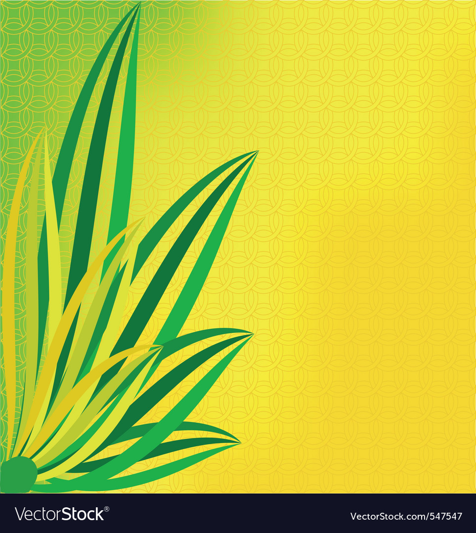 Green leaves on a dim yellow background vector | Price: 1 Credit (USD $1)