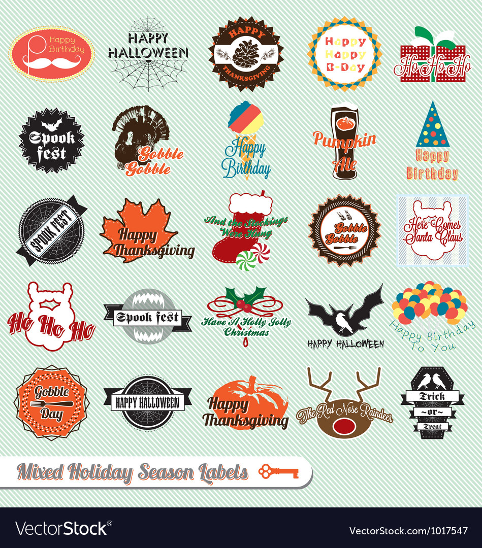 Mixed holiday labels vector | Price: 1 Credit (USD $1)