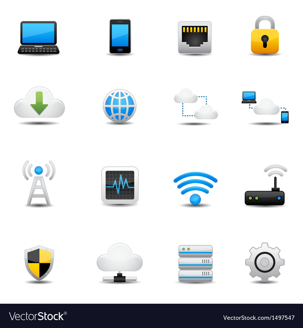 Network and cloud computing icons vector | Price: 3 Credit (USD $3)