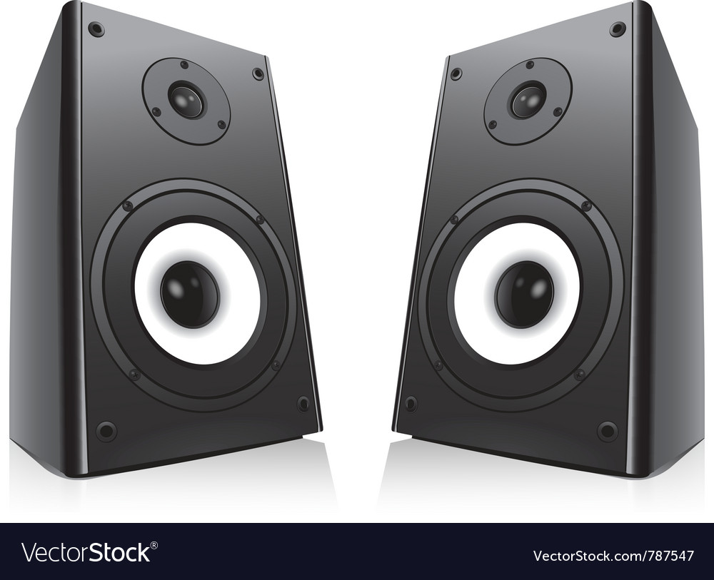 Pair of black loud speakers isolated on white back vector | Price: 1 Credit (USD $1)