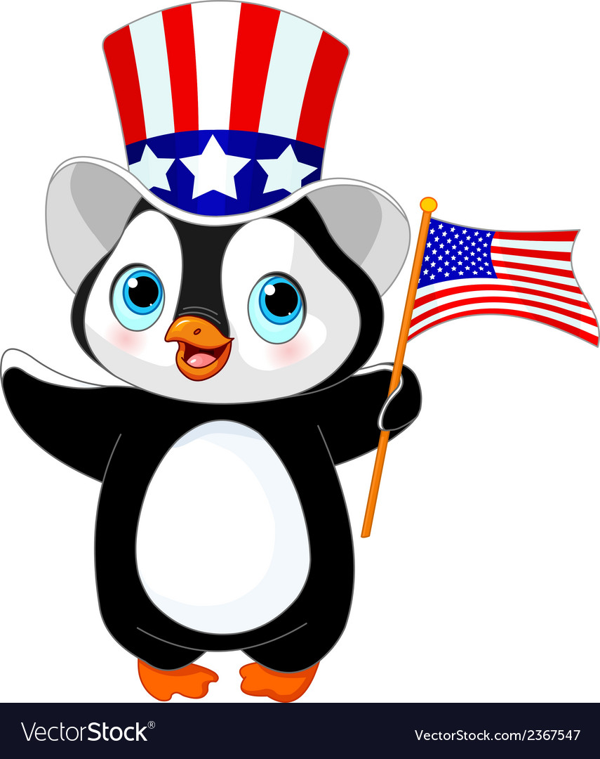 Patriotic penguin vector | Price: 1 Credit (USD $1)