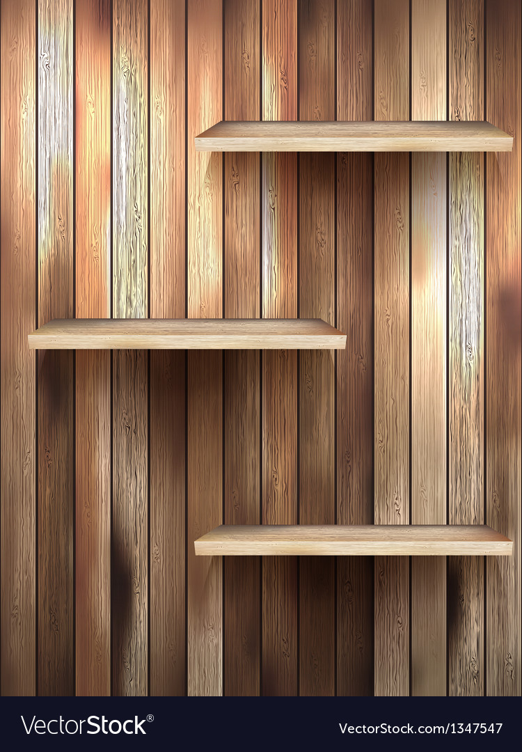 Wood 3d isolated empty shelf for exhibit eps 10 vector | Price: 1 Credit (USD $1)