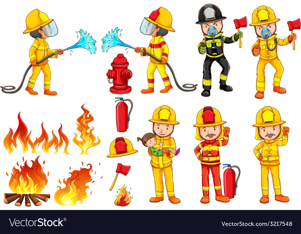 A group of firemen vector | Price: 1 Credit (USD $1)