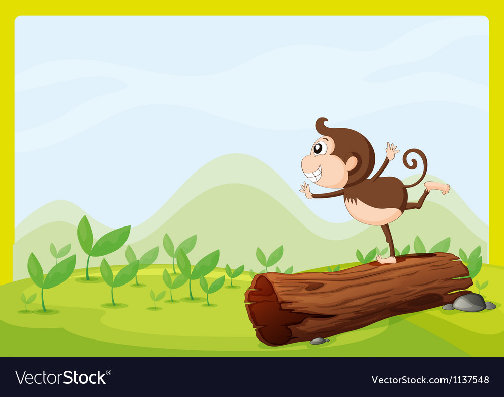 A monkey dancing on wood vector | Price: 1 Credit (USD $1)