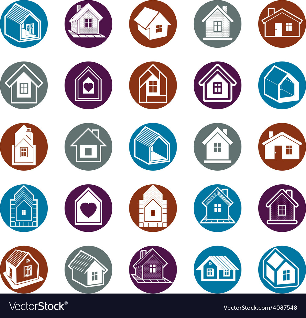 Cottages collection real estate and construction vector | Price: 1 Credit (USD $1)