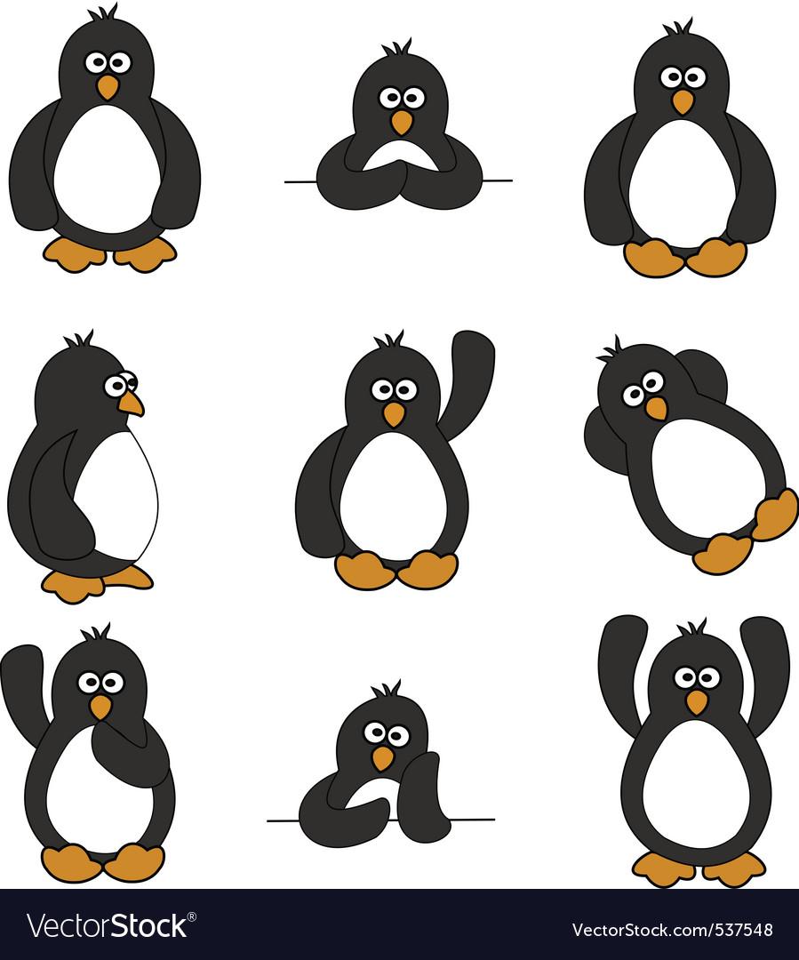 Cute penguin set vector