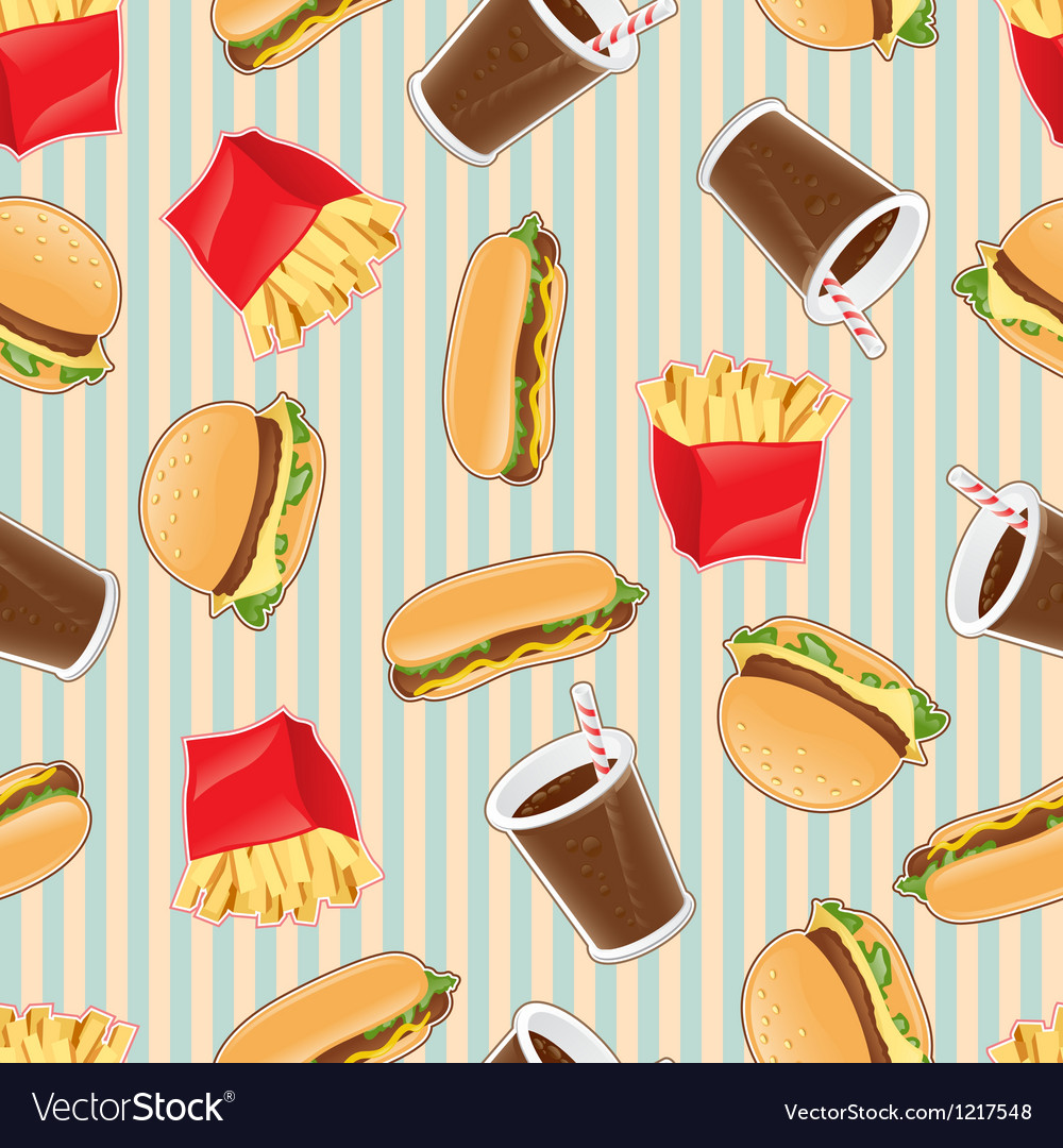 Fast food seamless pattern background vector | Price: 1 Credit (USD $1)