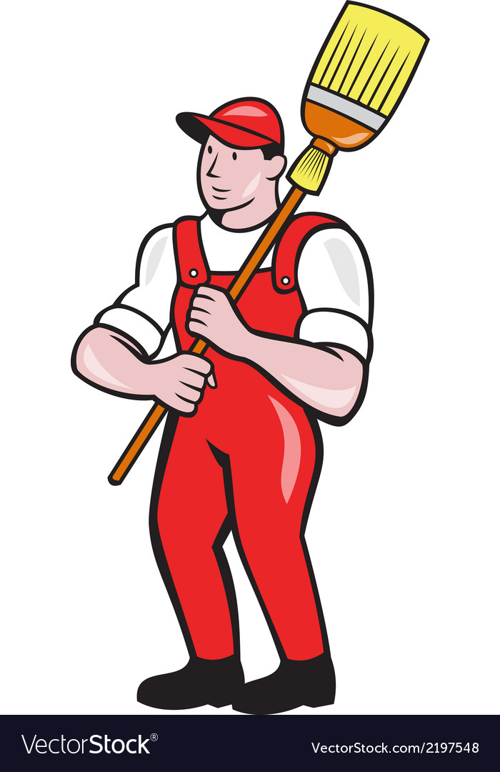 Janitor cleaner holding broom standing cartoon vector | Price: 1 Credit (USD $1)