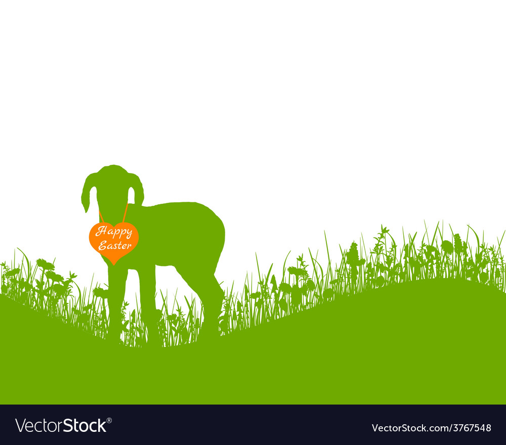 Lamb on meadow vector | Price: 1 Credit (USD $1)