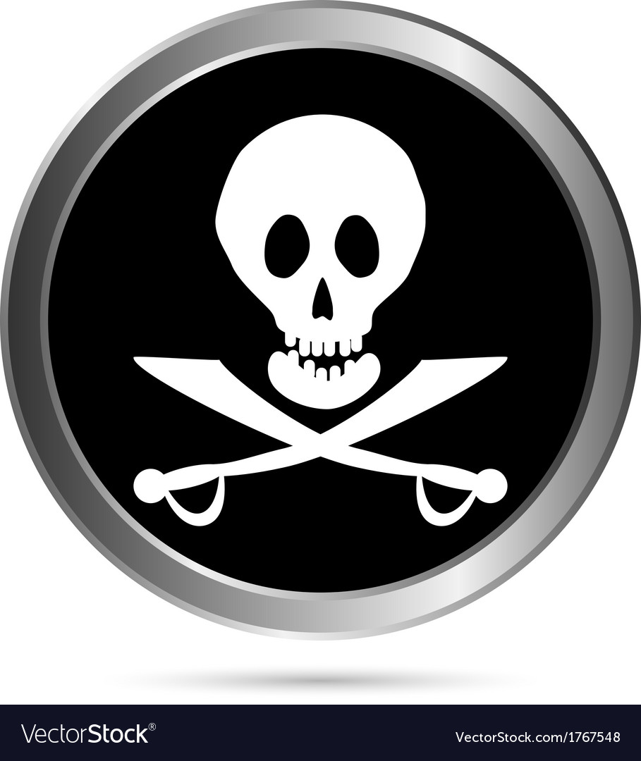 Piracy flag button vector | Price: 1 Credit (USD $1)