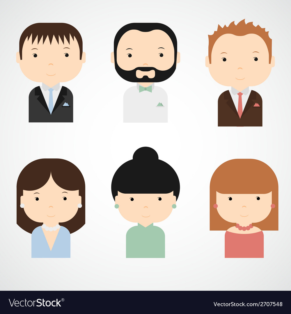Set of colorful elegant successful people icons vector | Price: 1 Credit (USD $1)