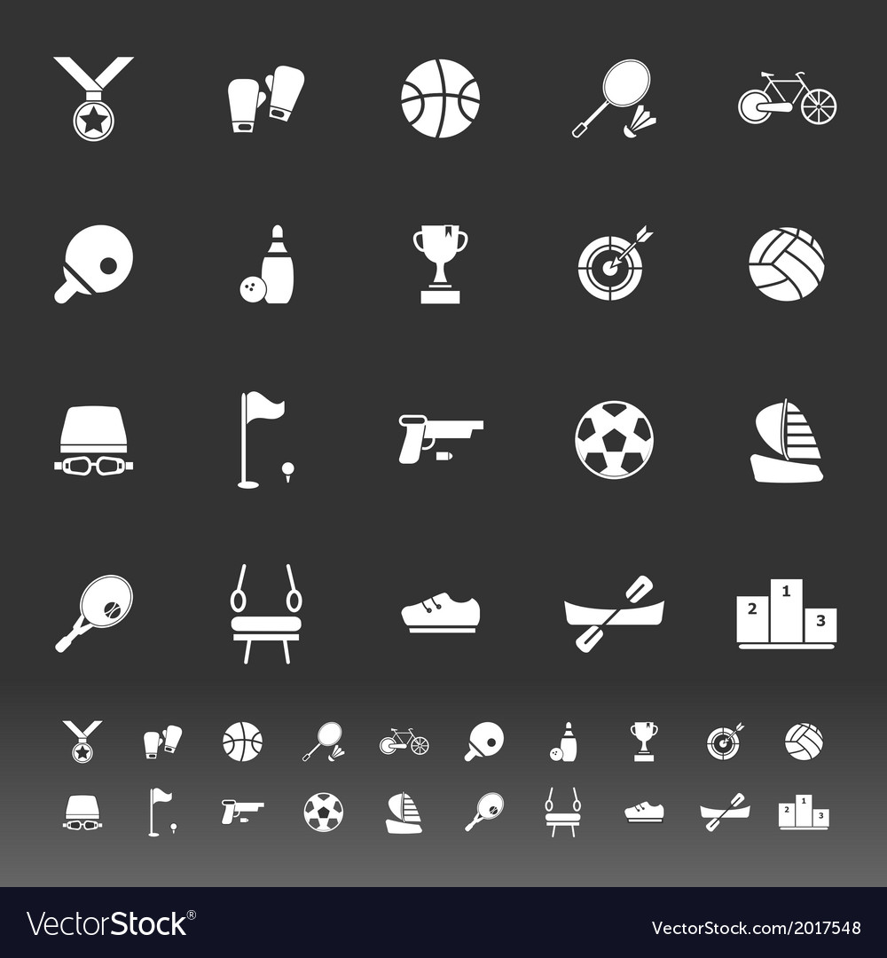 Sport game athletic icons on gray background vector | Price: 1 Credit (USD $1)