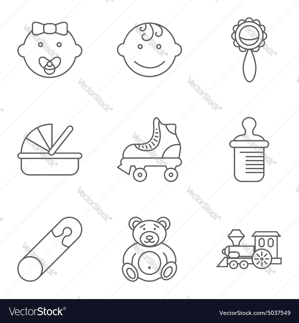 Baby related flat icon set vector