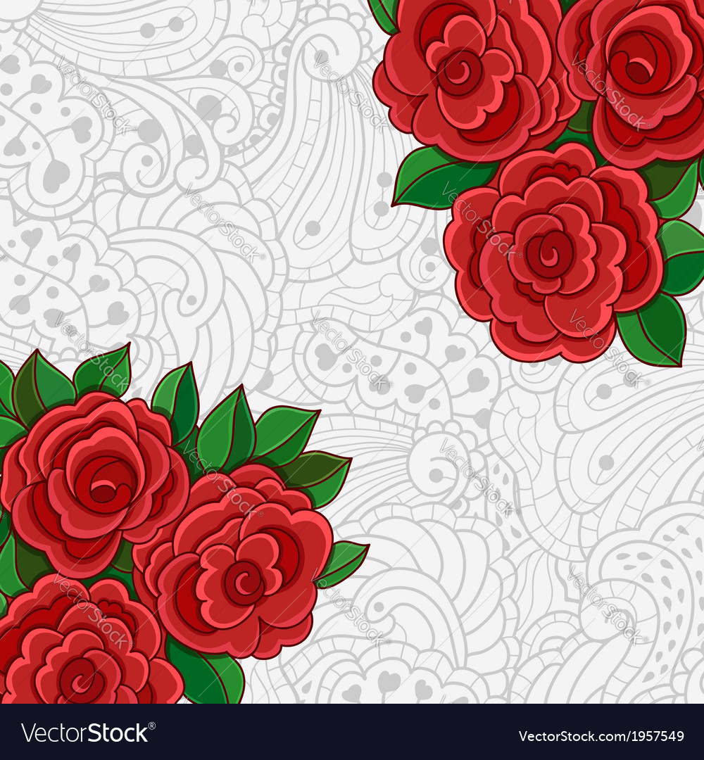 Background with red roses and leaves vector | Price: 1 Credit (USD $1)