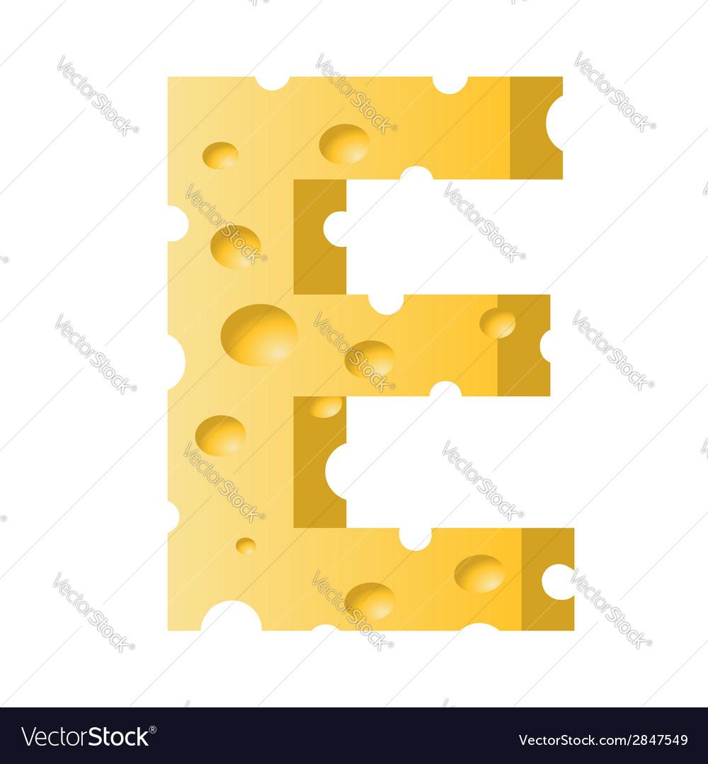 Cheese letter e vector   Price: 1 Credit (USD $1)