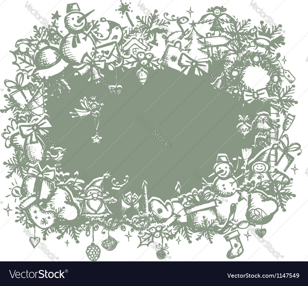 Christmas frame sketch drawing for your design vector