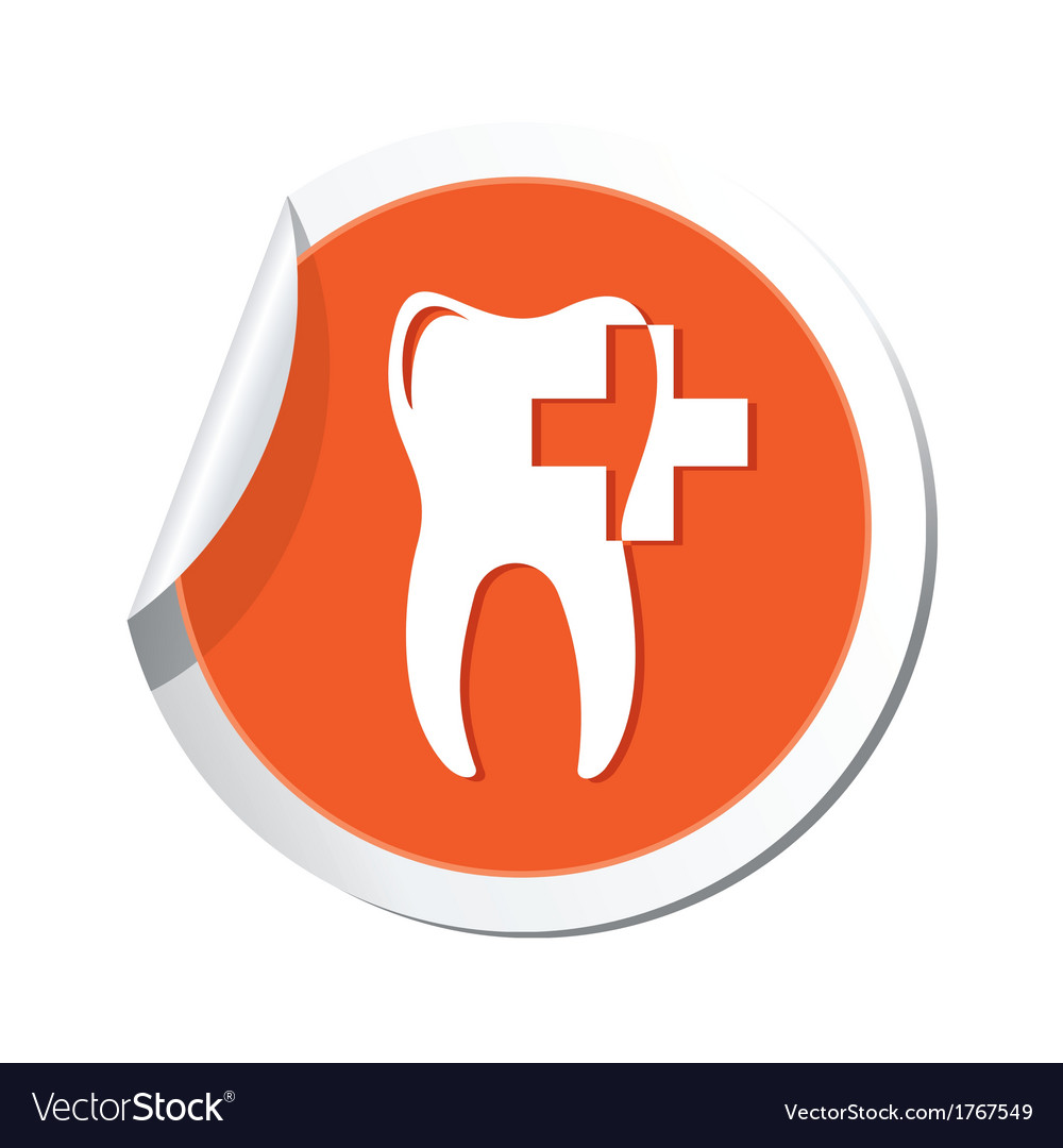 Dental clinic orange tag vector | Price: 1 Credit (USD $1)
