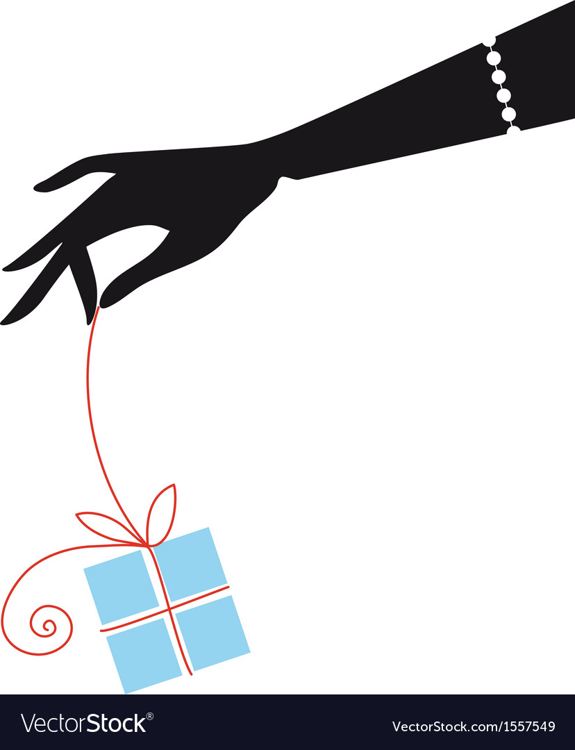 Female hand holding blue gift box vector | Price: 1 Credit (USD $1)