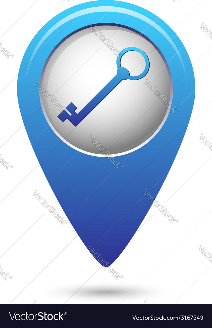 Map pointer with closed lock icon vector | Price: 1 Credit (USD $1)
