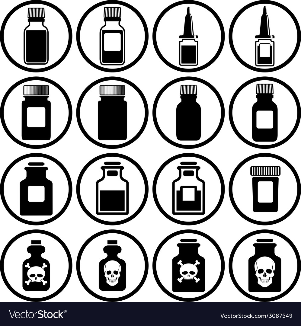 Medical bottles icon set vector | Price: 1 Credit (USD $1)