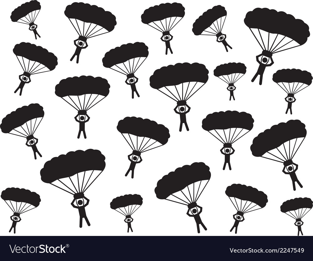 People with parachute vector | Price: 1 Credit (USD $1)