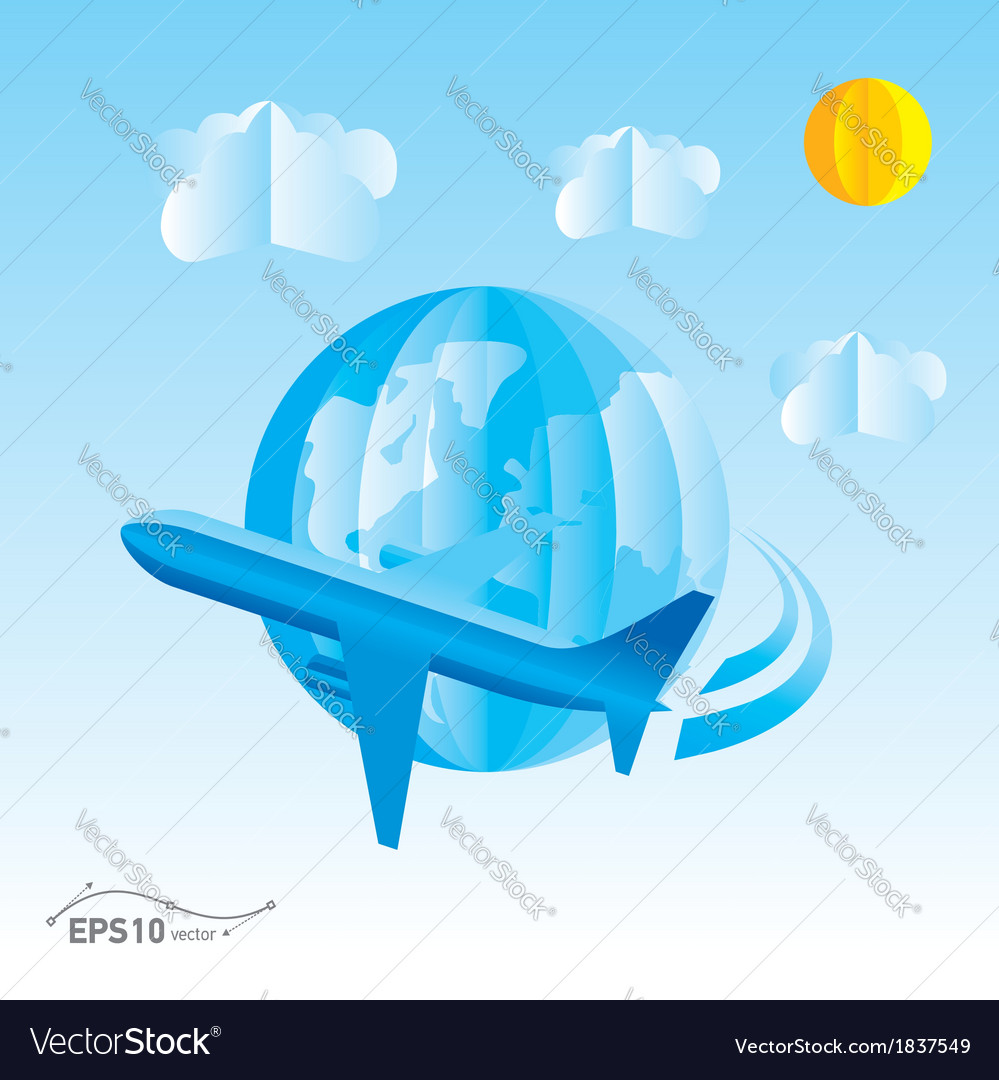 Plane globe origami 3d paper vector | Price: 1 Credit (USD $1)