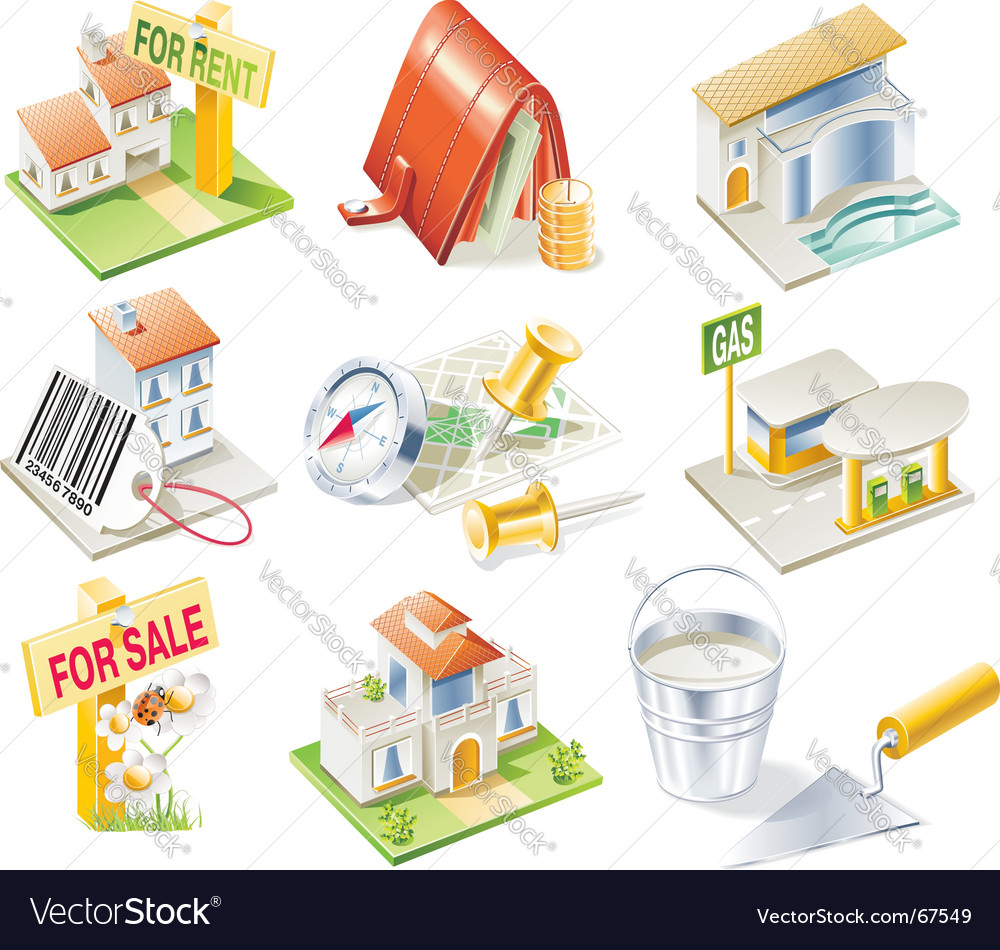 Real estate icon set vector | Price: 5 Credit (USD $5)
