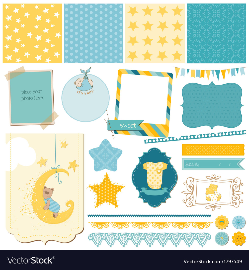 Scrapbook baby bear set vector | Price: 1 Credit (USD $1)