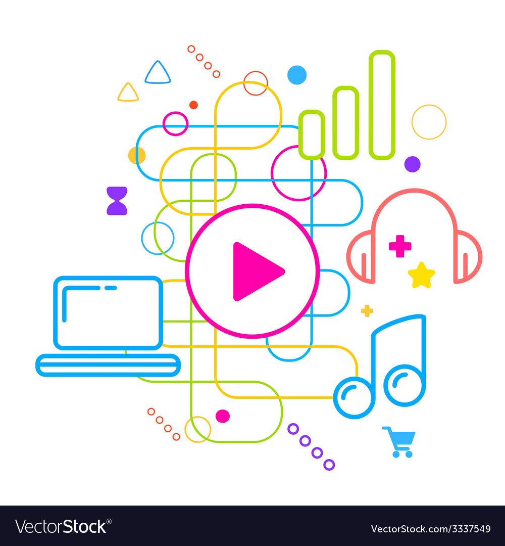 Symbols of listening to music on the computer on vector | Price: 3 Credit (USD $3)