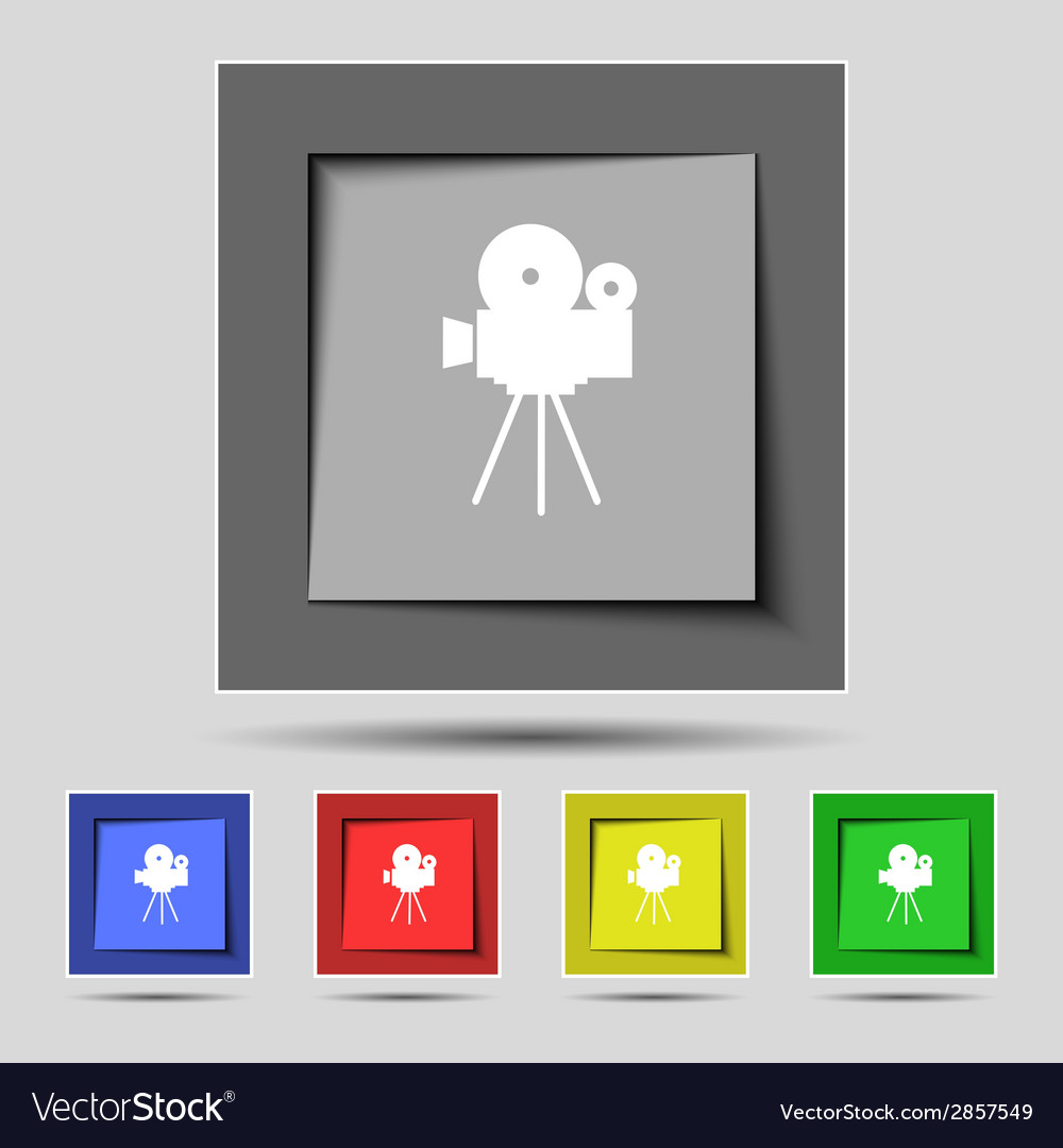 Video camera sign iconcontent button set colourful vector | Price: 1 Credit (USD $1)