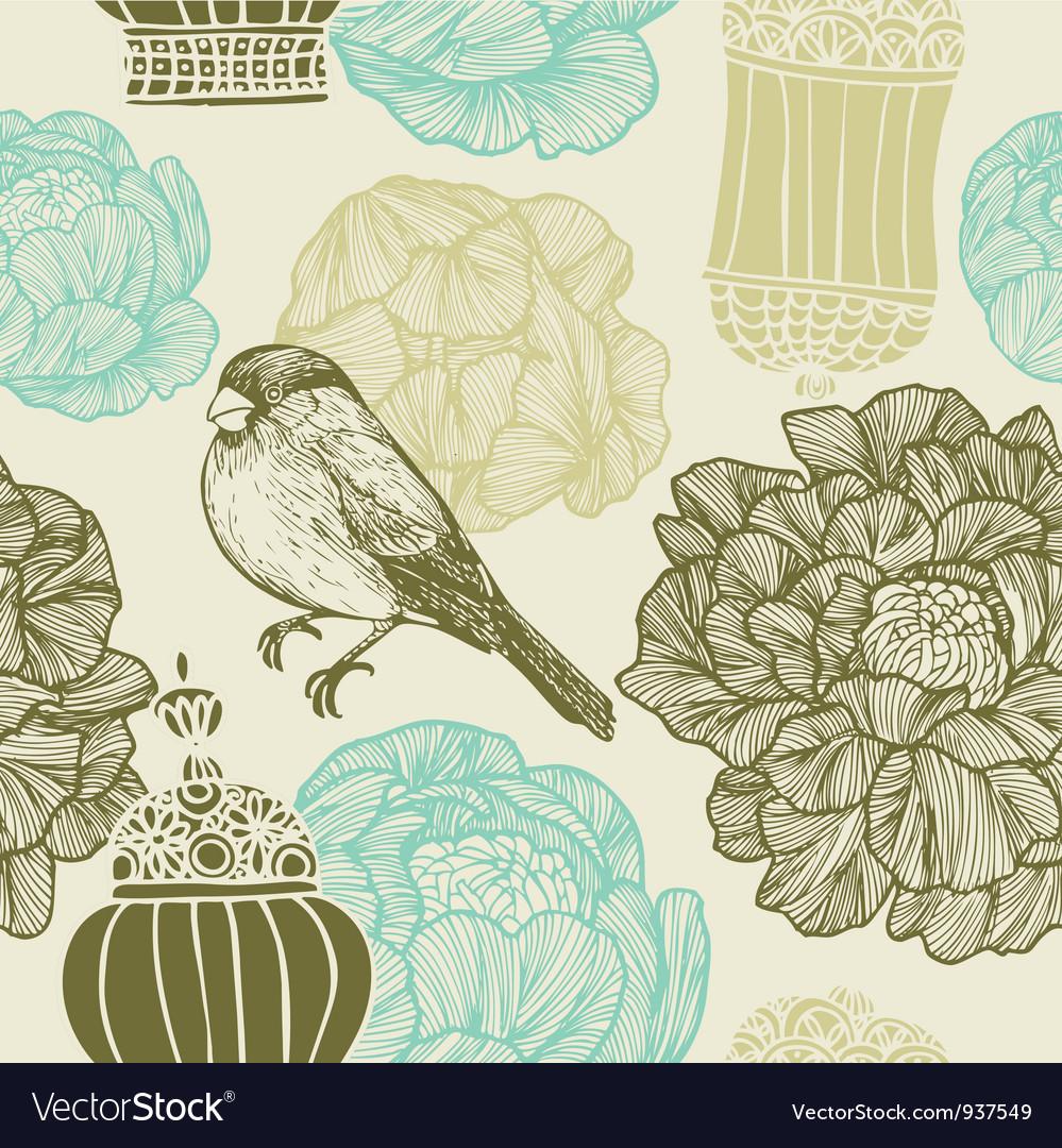 Vintage bird floral pattern vector | Price: 1 Credit (USD $1)