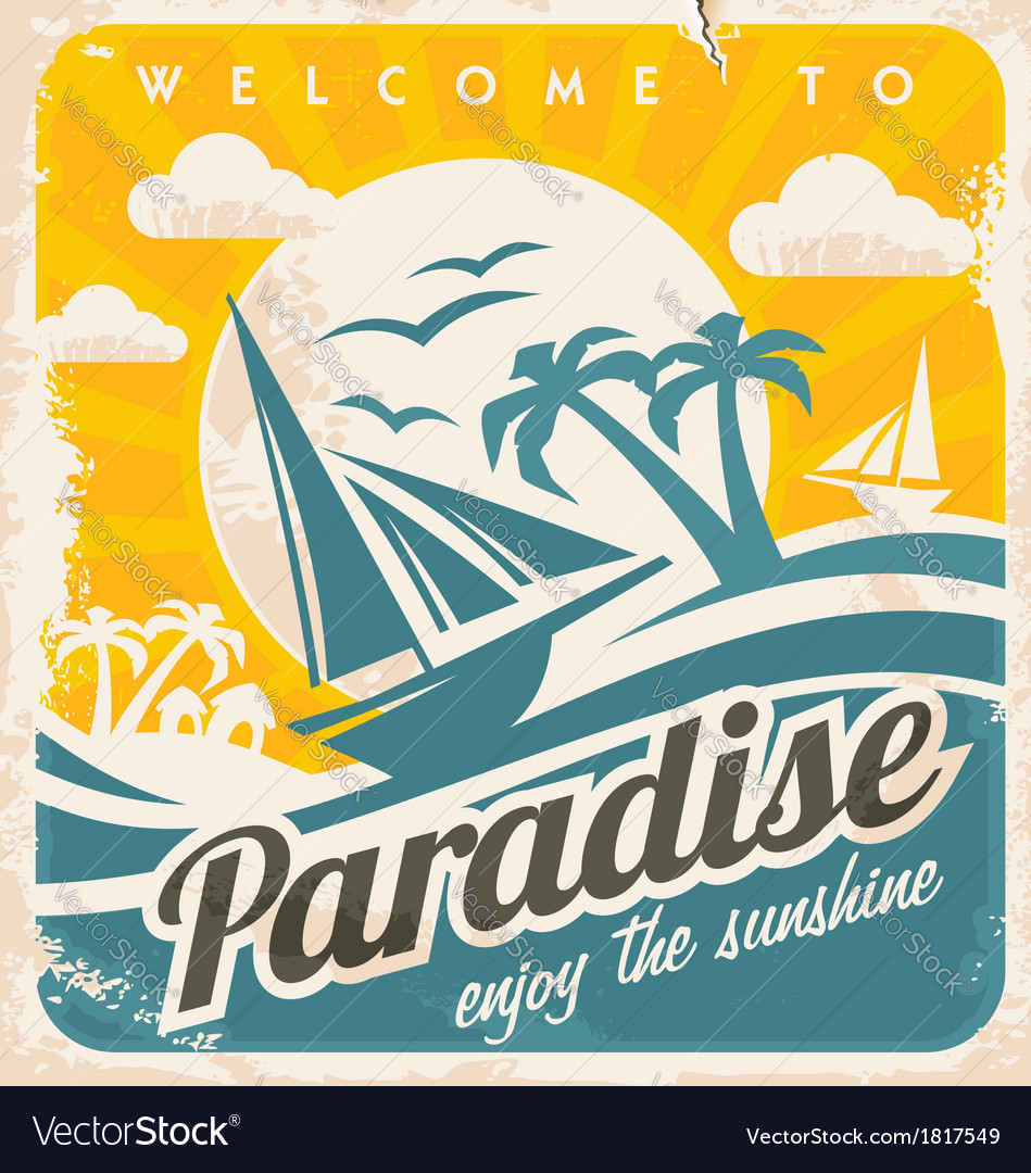 Welcome to tropical paradise vintage poster design vector | Price: 3 Credit (USD $3)