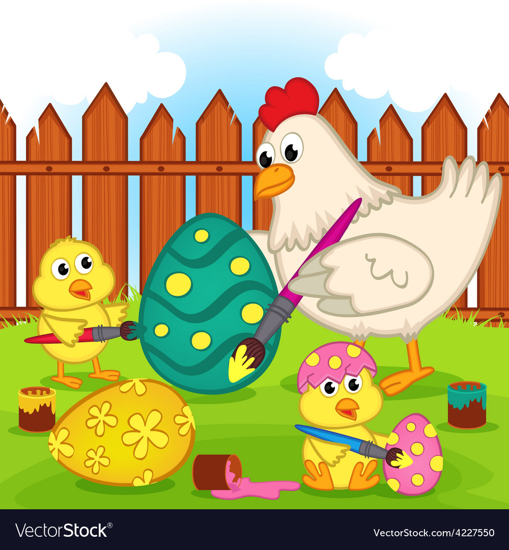 Chicken and chicks painting easter egg vector | Price: 3 Credit (USD $3)