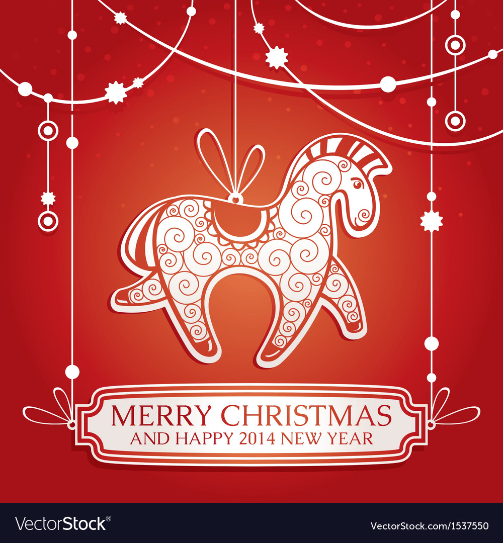 Christmas greeting card with horse vector | Price: 1 Credit (USD $1)