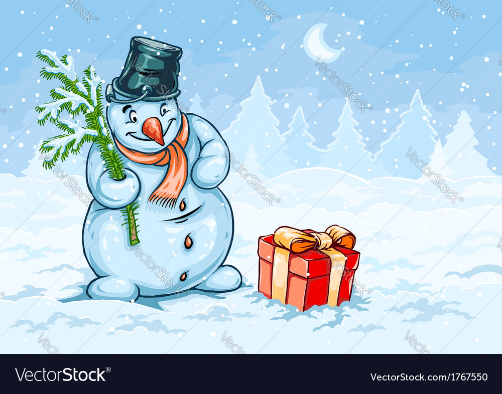 Christmas snowman and red vector | Price: 1 Credit (USD $1)
