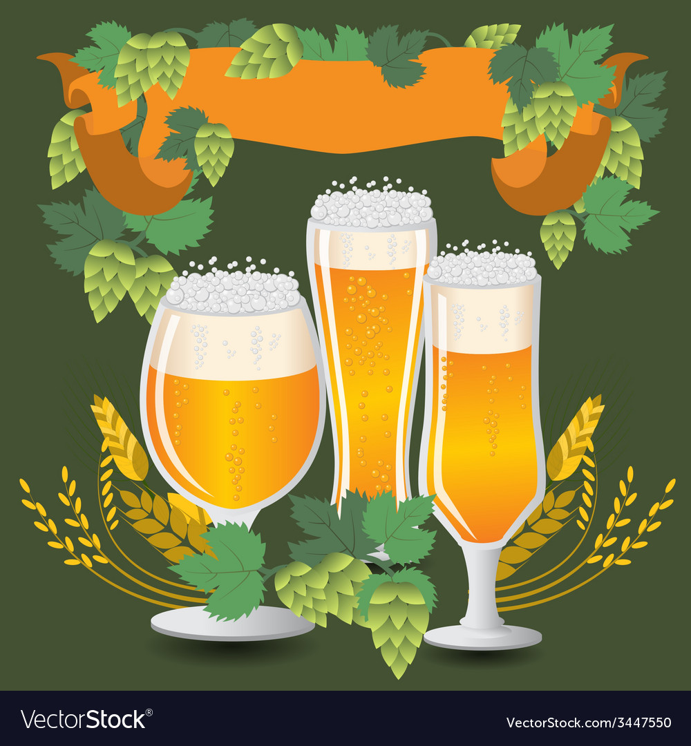 Glasses beer with wheat and hops vector | Price: 1 Credit (USD $1)