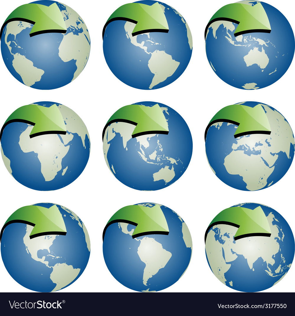 Globes with arrows vector | Price: 1 Credit (USD $1)