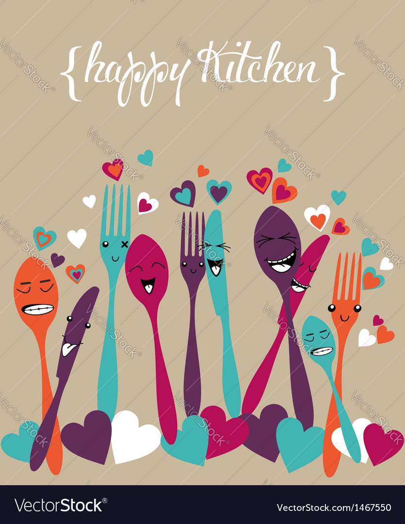 Happy kitchen silverware cartoon set vector | Price: 1 Credit (USD $1)