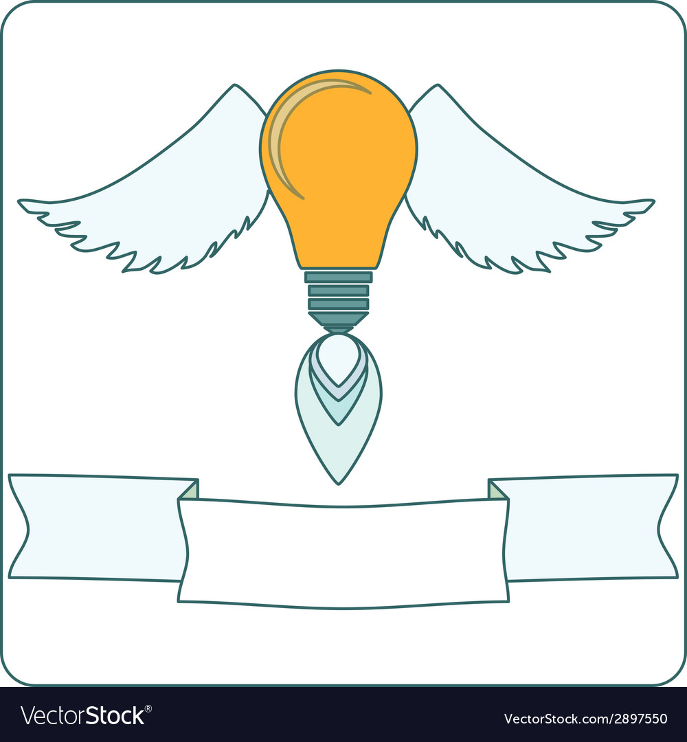 Light bulb with wings and banner vector | Price: 1 Credit (USD $1)